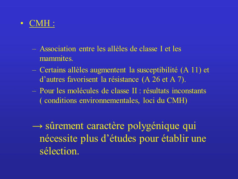 CMH : Association entre les allèles de classe I et les mammites.