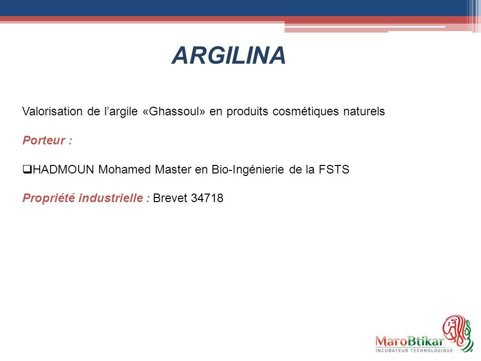 ARGILINA Valorisation de l'argile «Ghassoul» en produits cosmétiques naturels. Porteur : HADMOUN Mohamed Master en Bio-Ingénierie de la FSTS.
