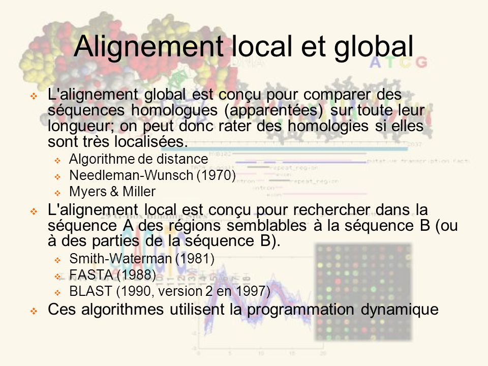 Alignement local et global