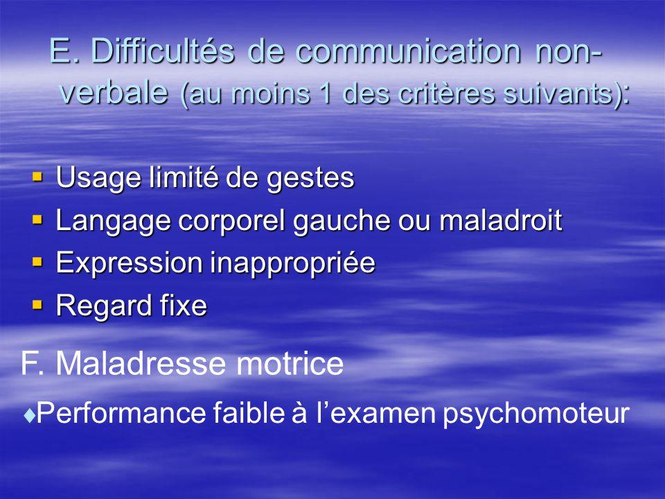 E. Difficultés de communication non- verbale (au moins 1 des critères suivants):