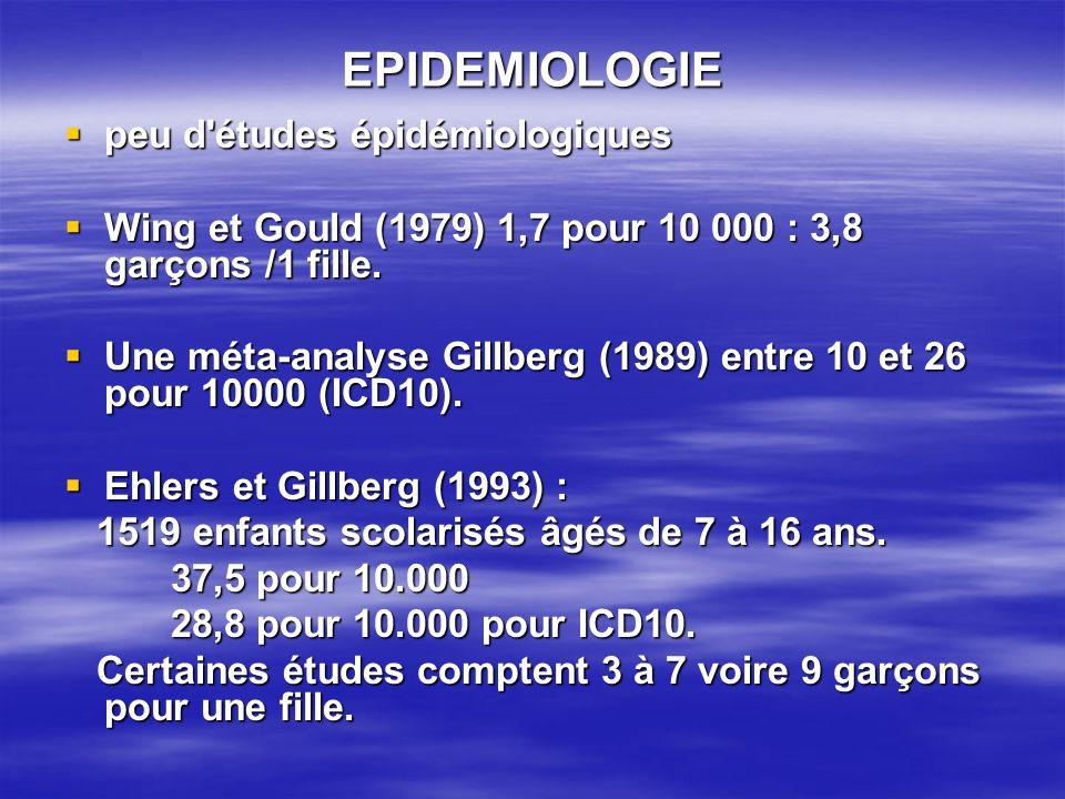 EPIDEMIOLOGIE peu d études épidémiologiques