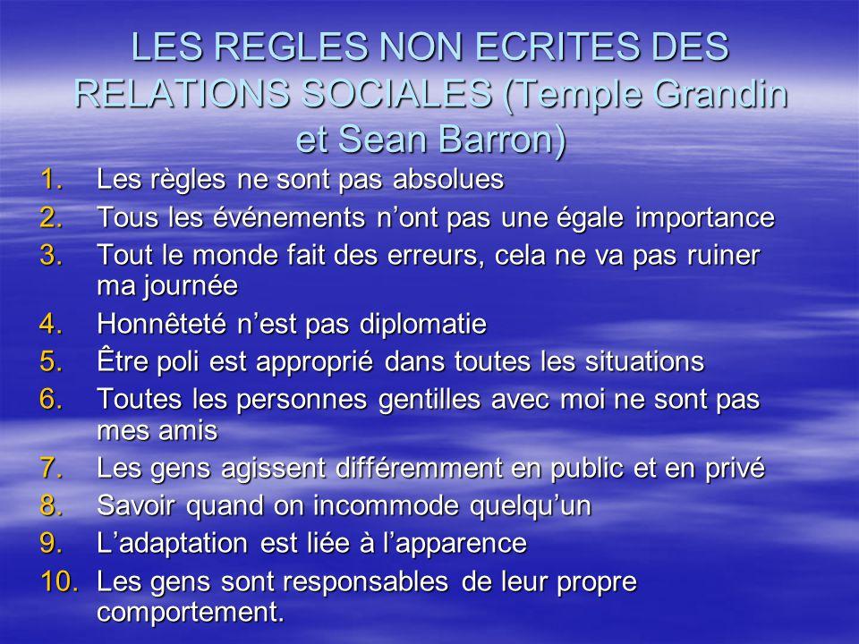LES REGLES NON ECRITES DES RELATIONS SOCIALES (Temple Grandin et Sean Barron)