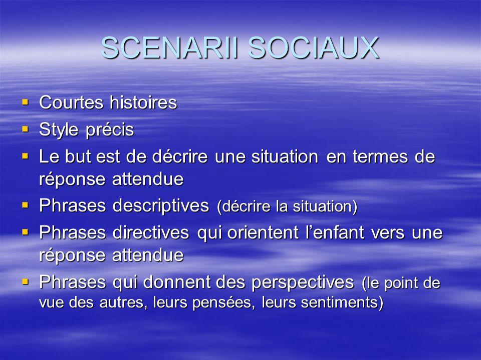SCENARII SOCIAUX Courtes histoires Style précis