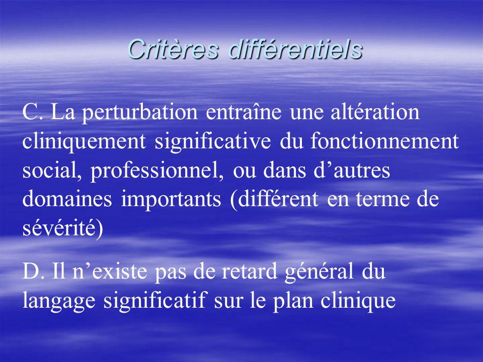 Critères différentiels