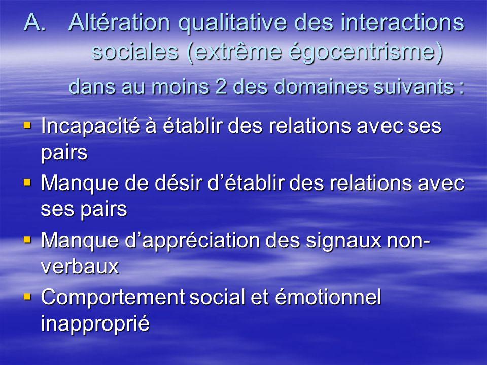 Altération qualitative des interactions sociales (extrême égocentrisme) dans au moins 2 des domaines suivants :