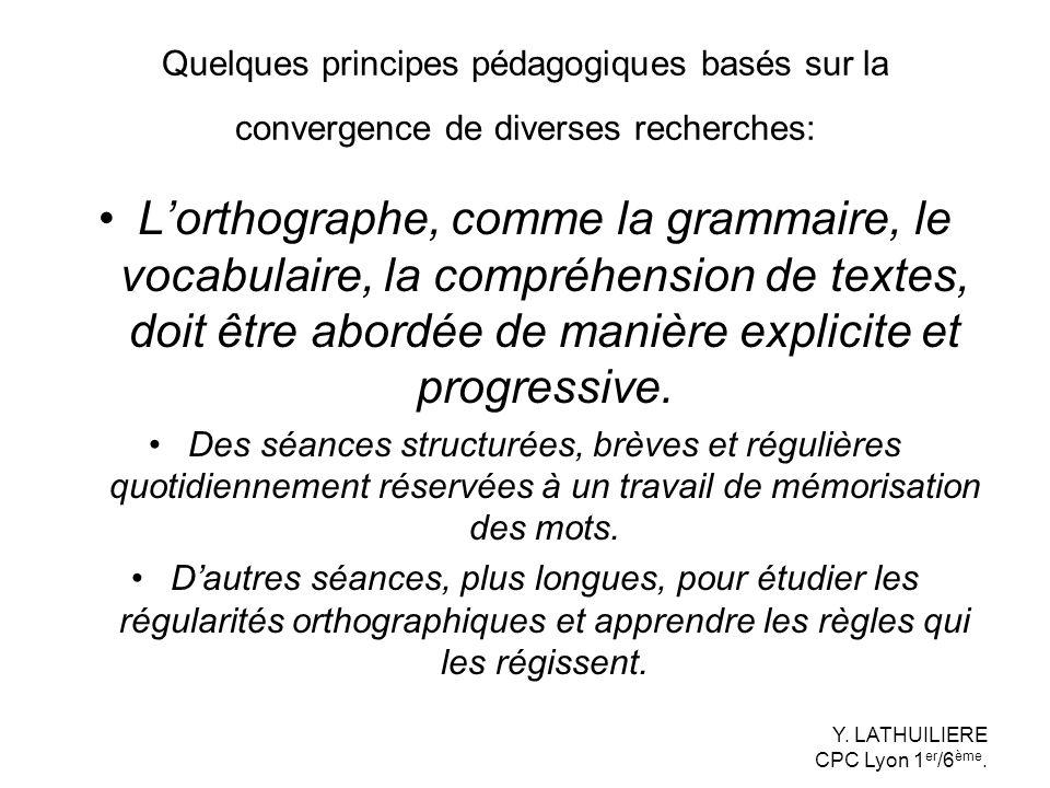 Quelques principes pédagogiques basés sur la convergence de diverses recherches:
