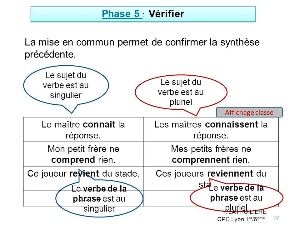 La mise en commun permet de confirmer la synthèse précédente.