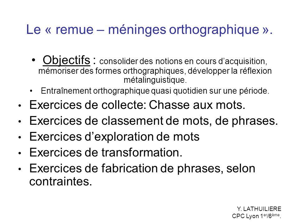 Le « remue – méninges orthographique ».
