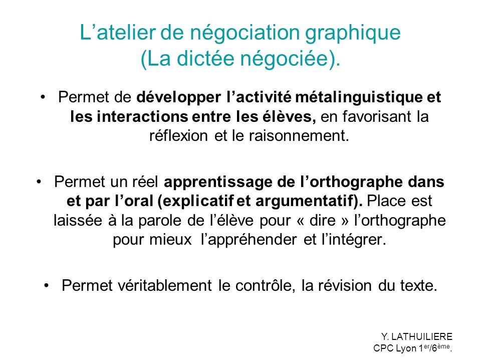 L'atelier de négociation graphique (La dictée négociée).