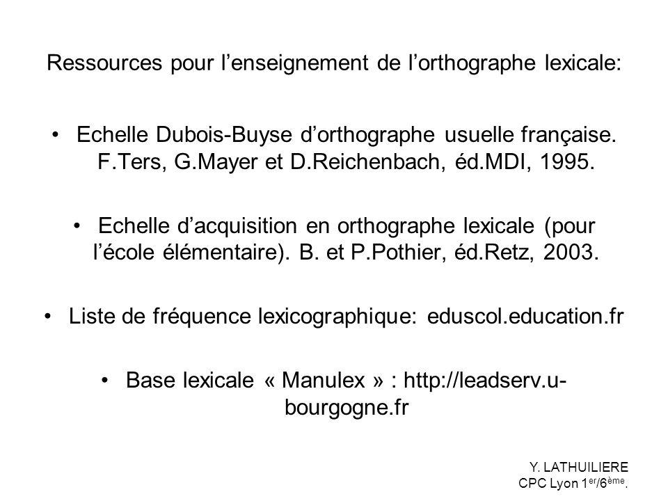 Ressources pour l'enseignement de l'orthographe lexicale: