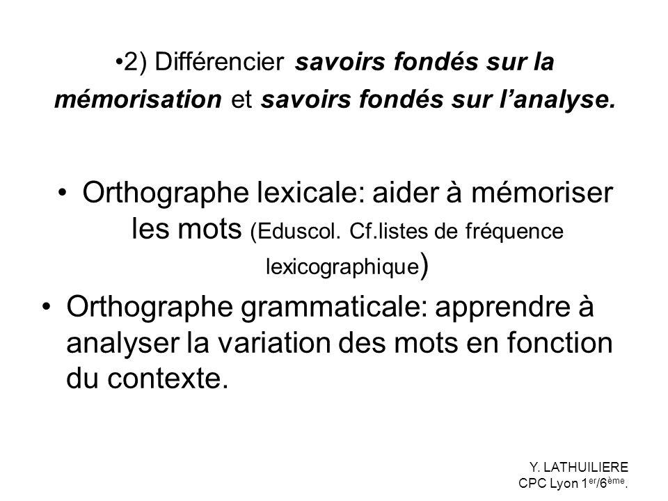 2) Différencier savoirs fondés sur la mémorisation et savoirs fondés sur l'analyse.