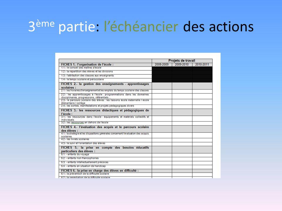 3ème partie: l'échéancier des actions