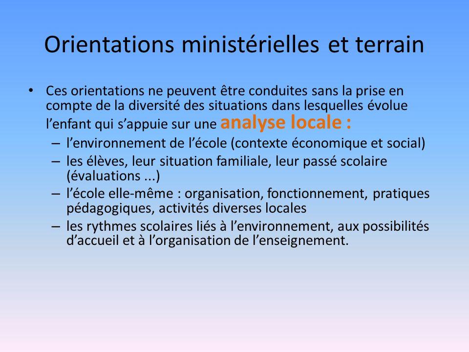 Orientations ministérielles et terrain