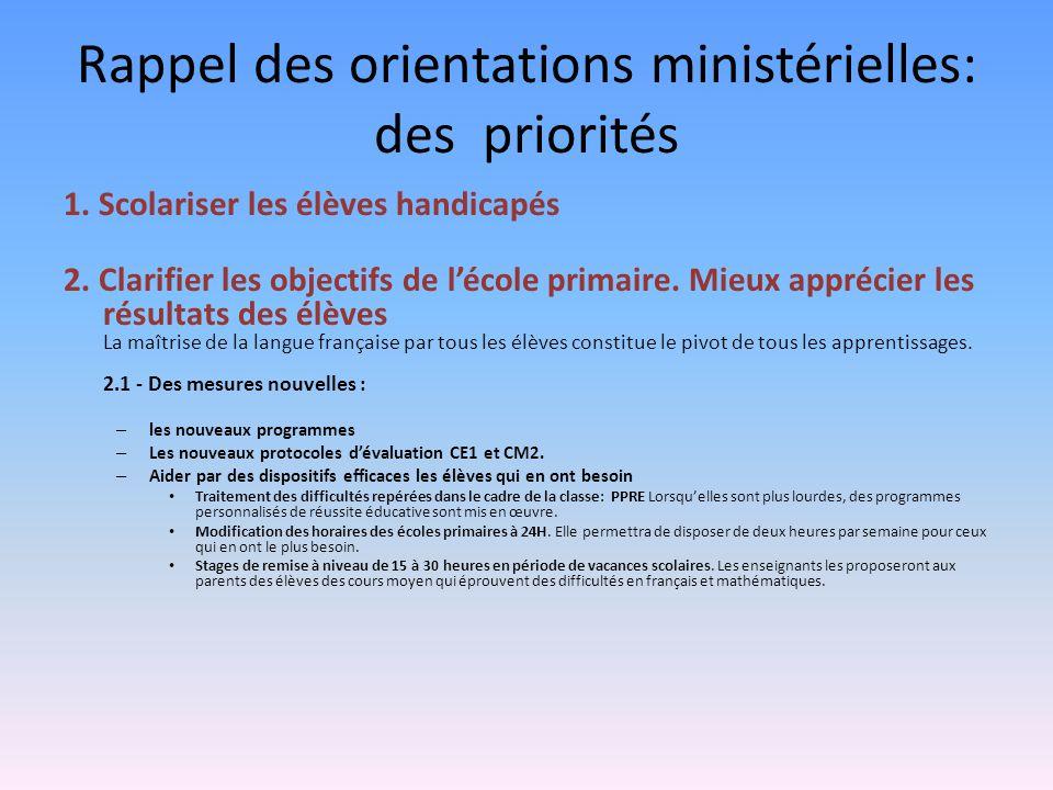 Rappel des orientations ministérielles: des priorités
