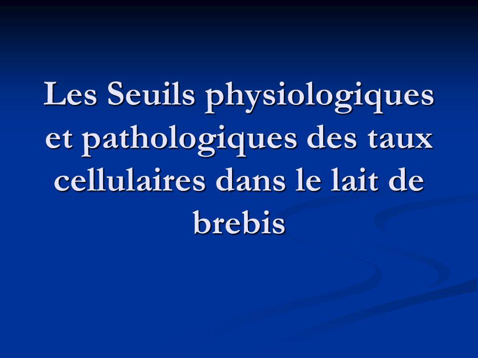 Les Seuils physiologiques et pathologiques des taux cellulaires dans le lait de brebis