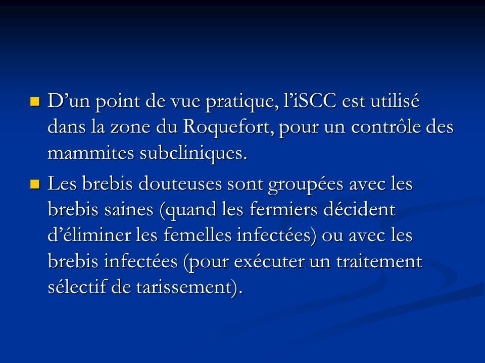 D'un point de vue pratique, l'iSCC est utilisé dans la zone du Roquefort, pour un contrôle des mammites subcliniques.