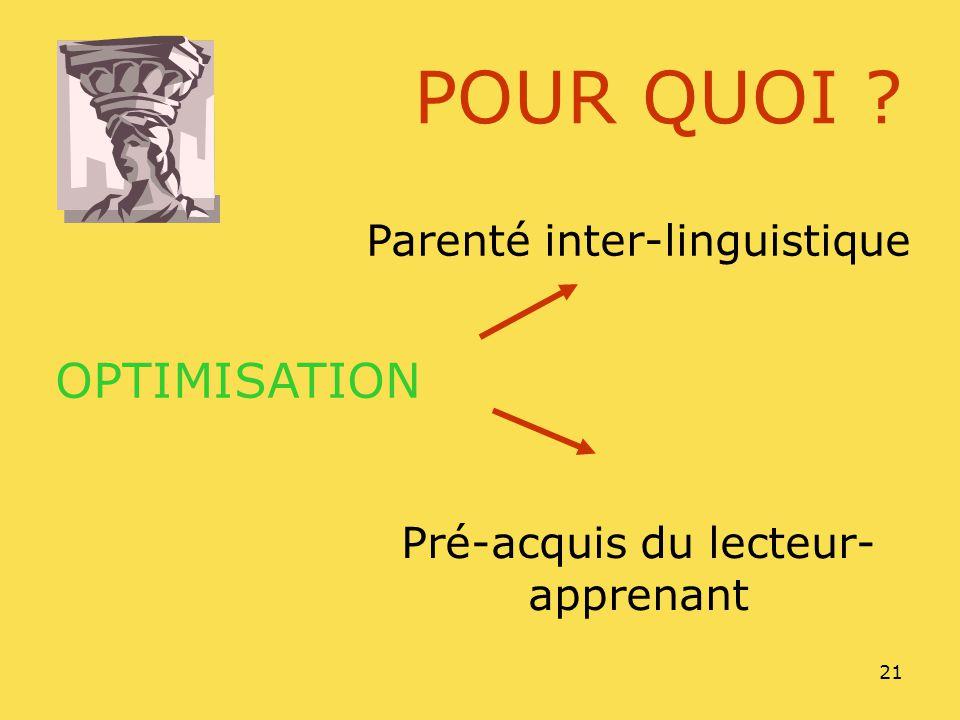 POUR QUOI OPTIMISATION Parenté inter-linguistique