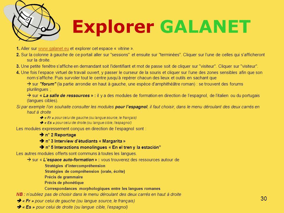 Explorer GALANET 1. Aller sur www.galanet.eu et explorer cet espace « vitrine ».