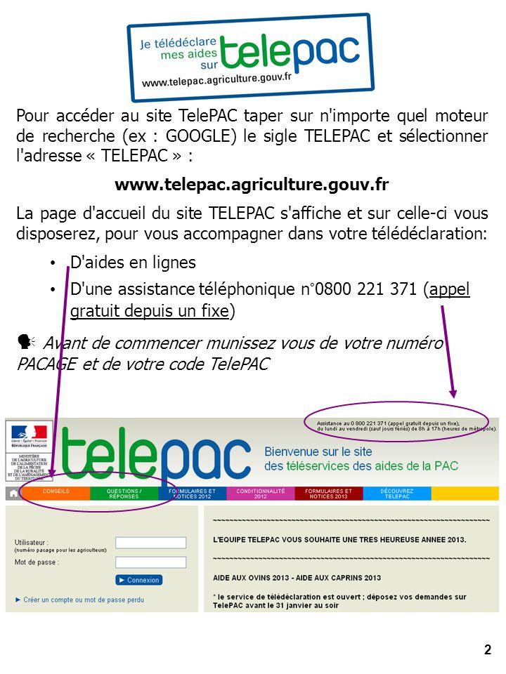 Pour accéder au site TelePAC taper sur n importe quel moteur de recherche (ex : GOOGLE) le sigle TELEPAC et sélectionner l adresse « TELEPAC » :