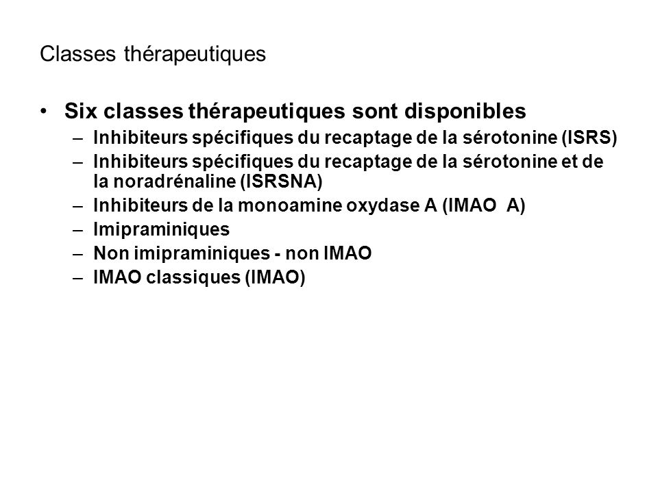 Classes thérapeutiques