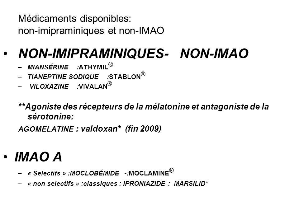 Médicaments disponibles: non-imipraminiques et non-IMAO