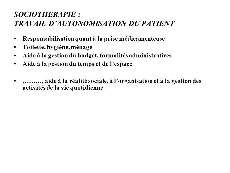 SOCIOTHERAPIE : TRAVAIL D'AUTONOMISATION DU PATIENT