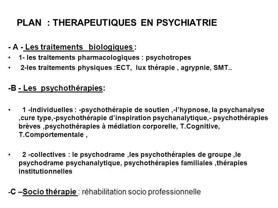 PLAN : THERAPEUTIQUES EN PSYCHIATRIE
