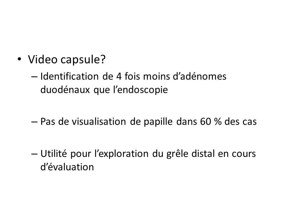 Video capsule Identification de 4 fois moins d'adénomes duodénaux que l'endoscopie. Pas de visualisation de papille dans 60 % des cas.