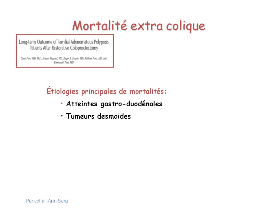 Mortalité extra colique