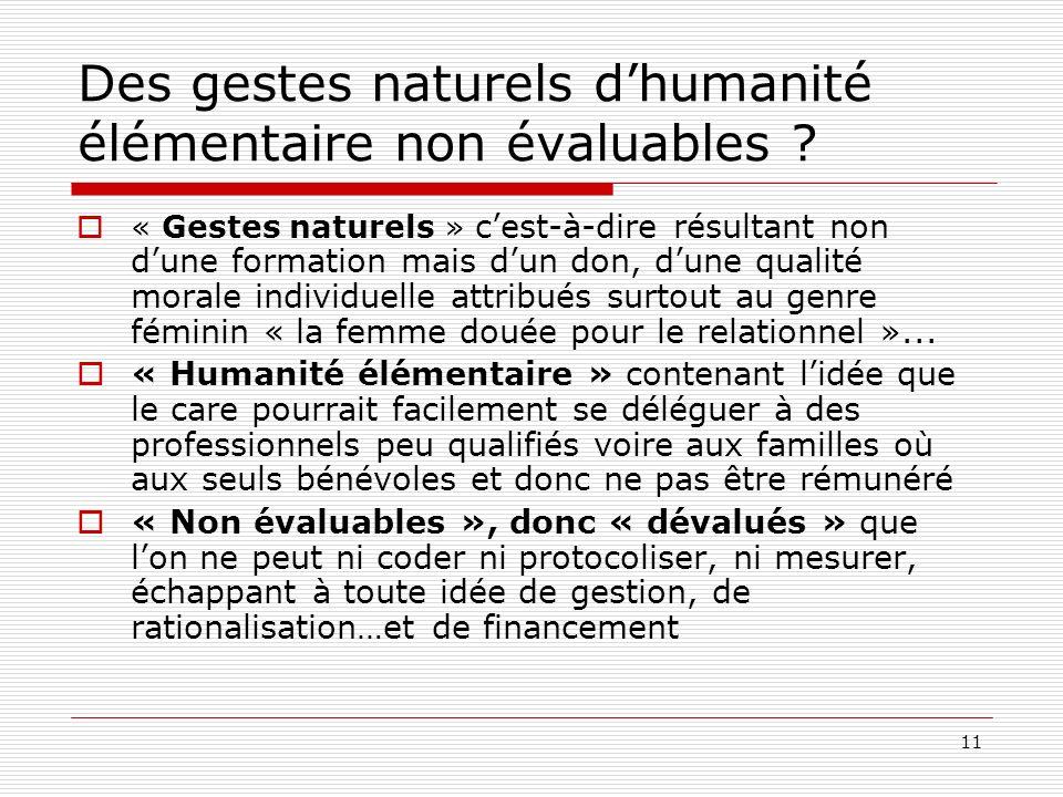 Des gestes naturels d'humanité élémentaire non évaluables