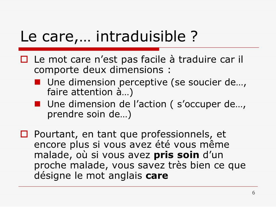 Le care,… intraduisible