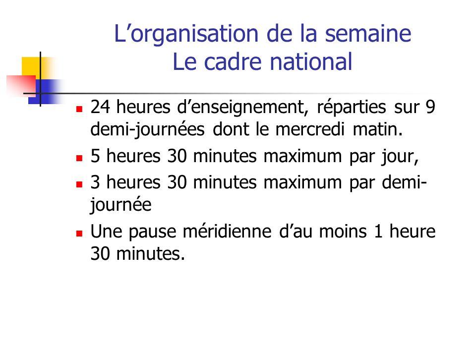 L'organisation de la semaine Le cadre national
