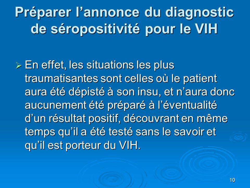 Préparer l'annonce du diagnostic de séropositivité pour le VIH