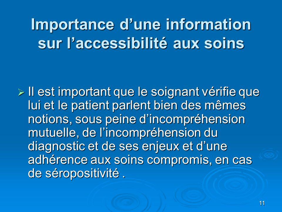 Importance d'une information sur l'accessibilité aux soins