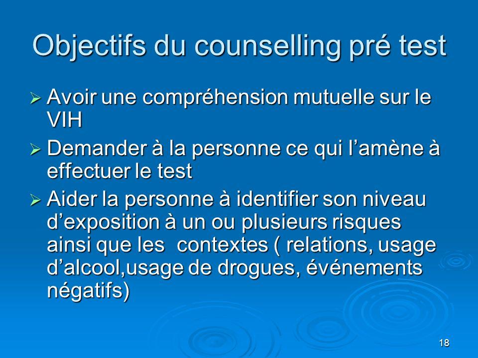 Objectifs du counselling pré test