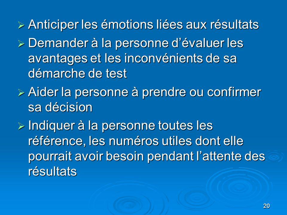 Anticiper les émotions liées aux résultats