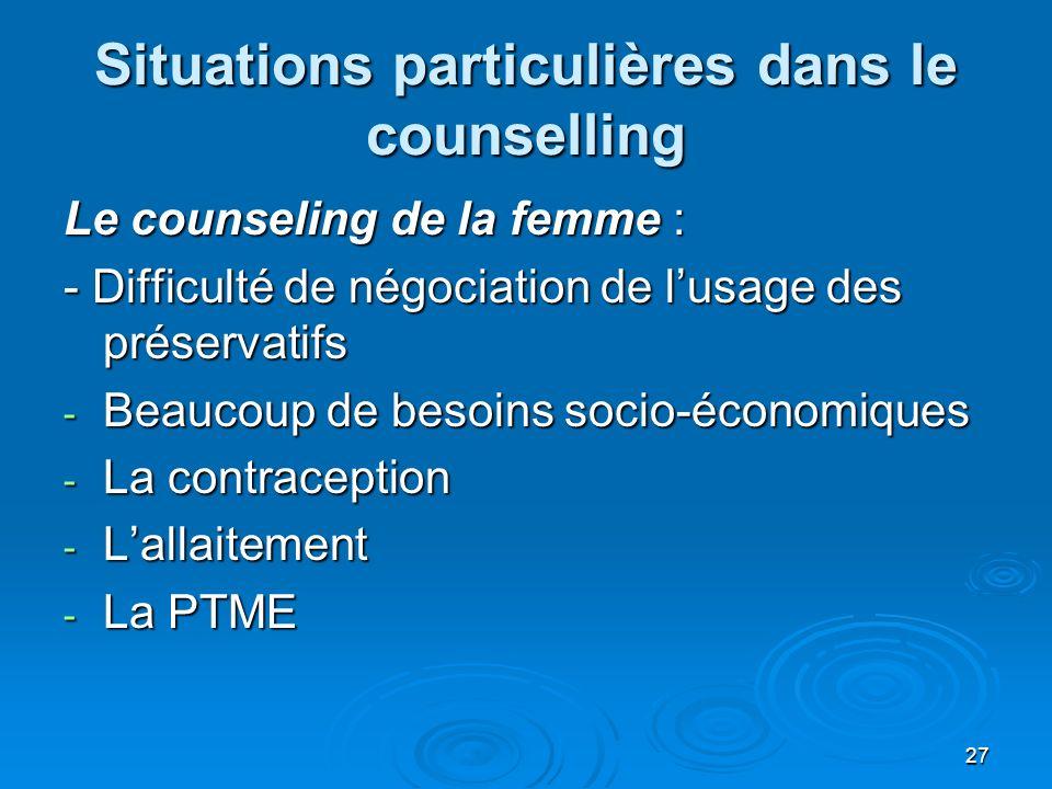 Situations particulières dans le counselling