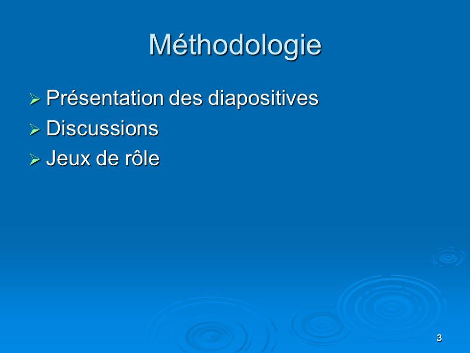 Méthodologie Présentation des diapositives Discussions Jeux de rôle