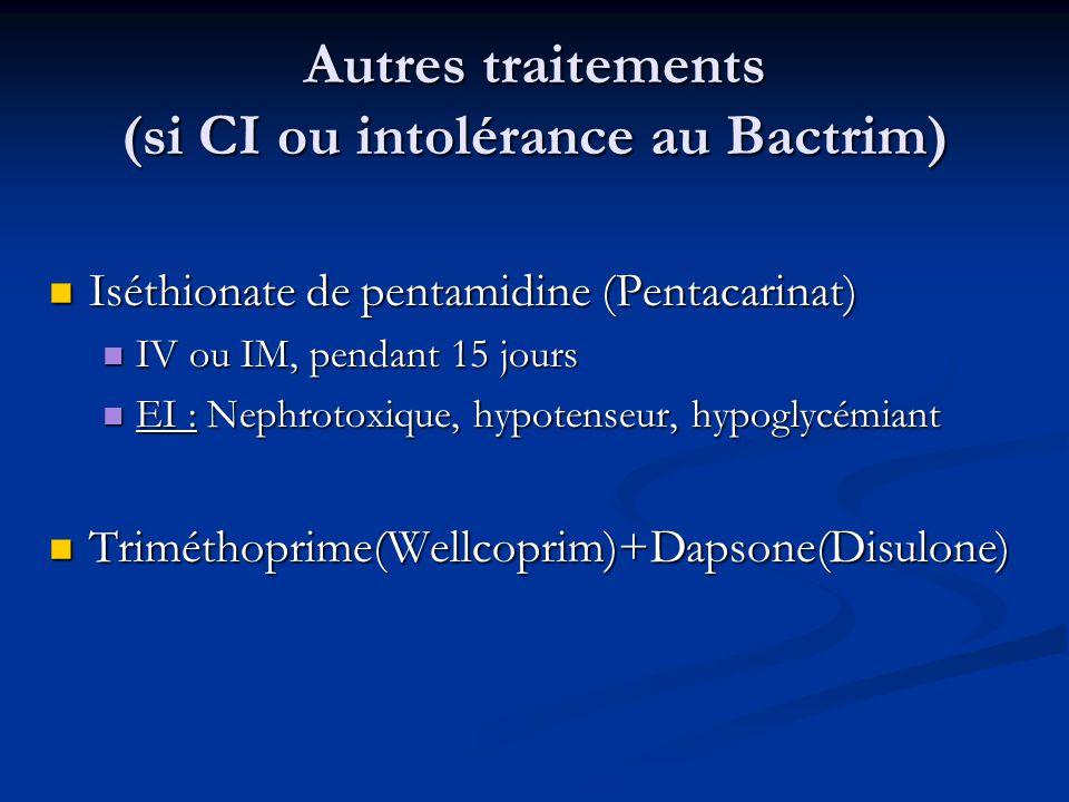 Autres traitements (si CI ou intolérance au Bactrim)