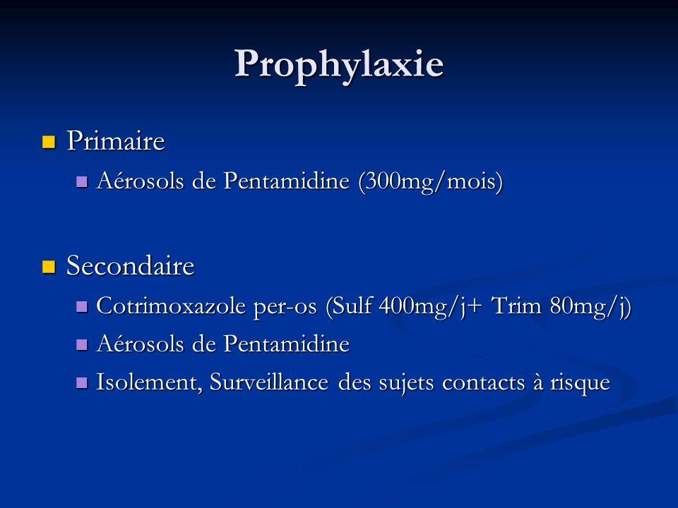 Prophylaxie Primaire Secondaire Aérosols de Pentamidine (300mg/mois)