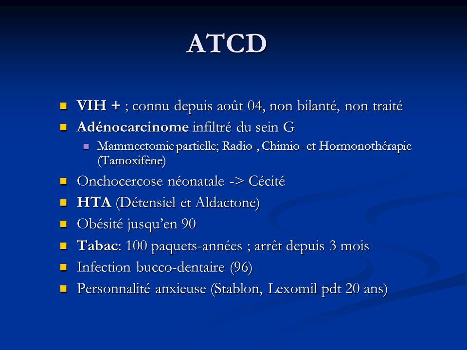 ATCD VIH + ; connu depuis août 04, non bilanté, non traité