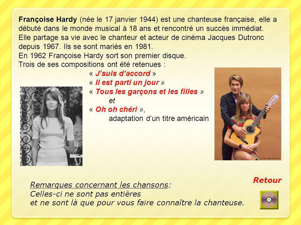 Françoise Hardy (née le 17 janvier 1944) est une chanteuse française, elle a débuté dans le monde musical à 18 ans et rencontré un succès immédiat.