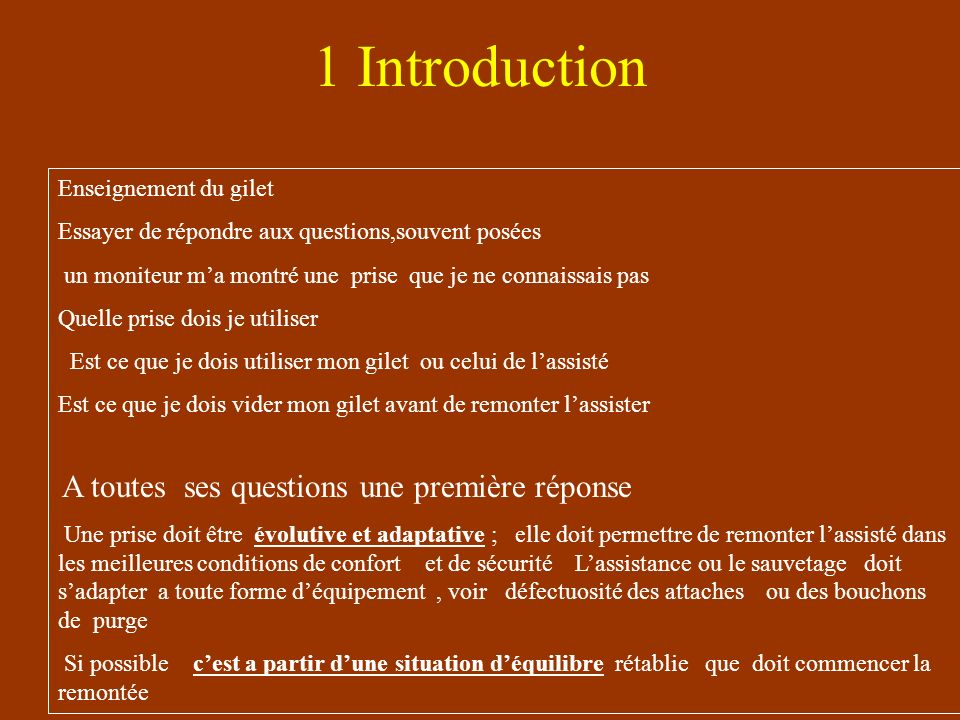 1 Introduction Enseignement du gilet