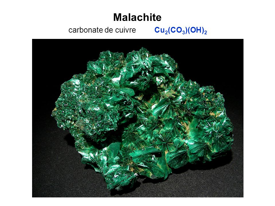 Malachite carbonate de cuivre Cu2(CO3)(OH)2