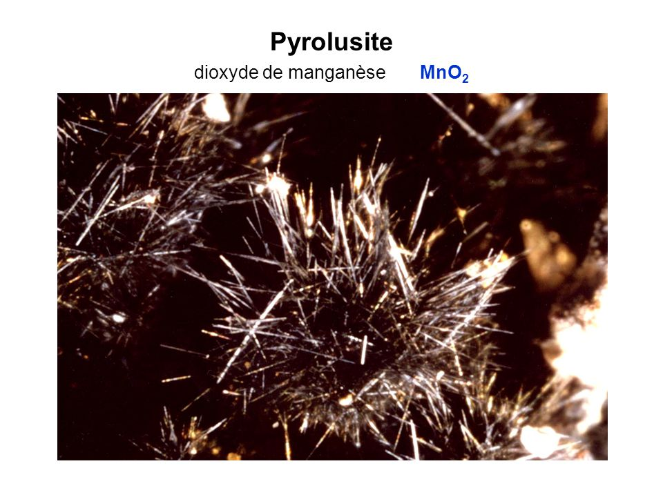 Pyrolusite dioxyde de manganèse MnO2