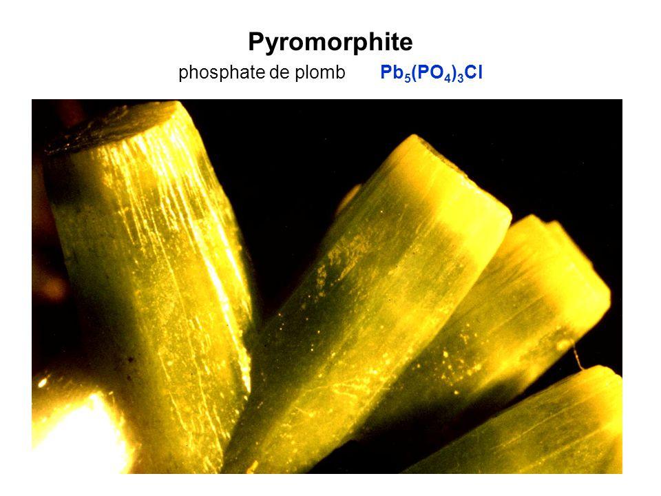 Pyromorphite phosphate de plomb Pb5(PO4)3Cl