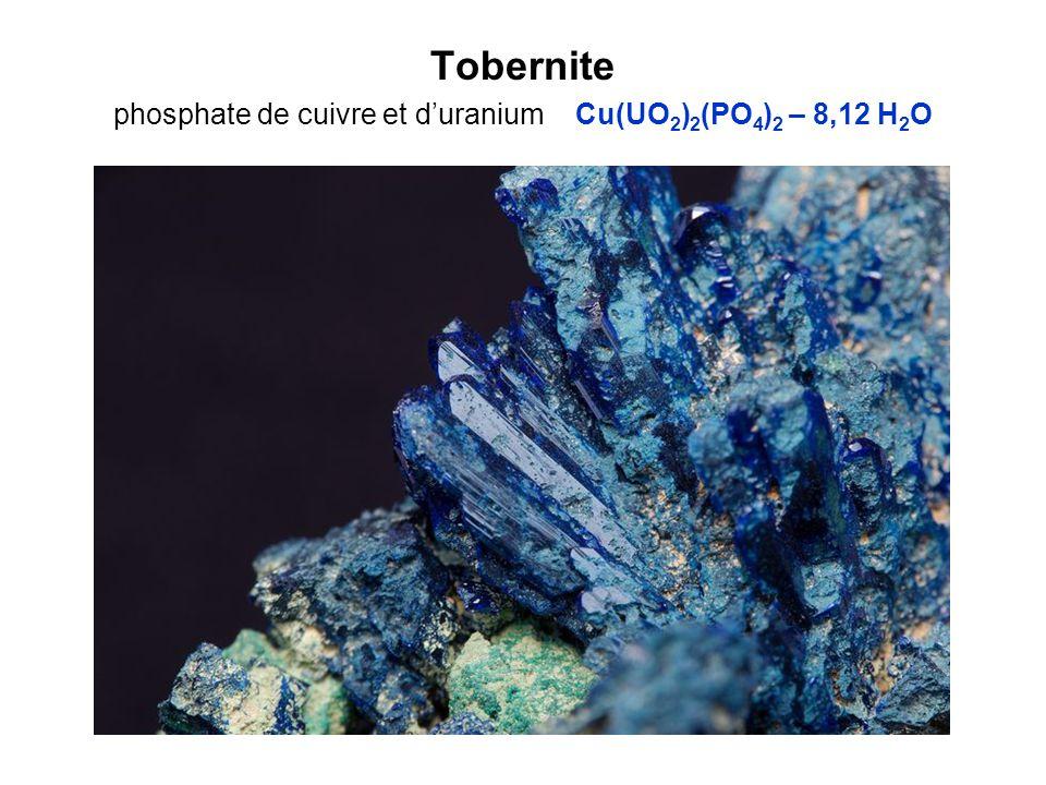 Tobernite phosphate de cuivre et d'uranium Cu(UO2)2(PO4)2 – 8,12 H2O