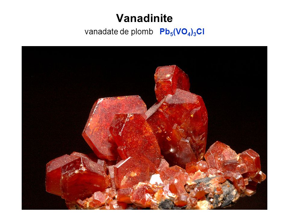Vanadinite vanadate de plomb Pb5(VO4)3Cl