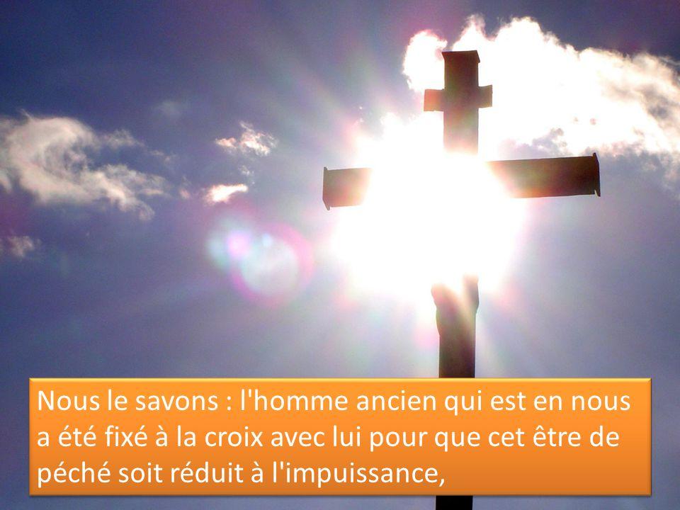 Nous le savons : l homme ancien qui est en nous a été fixé à la croix avec lui pour que cet être de péché soit réduit à l impuissance,