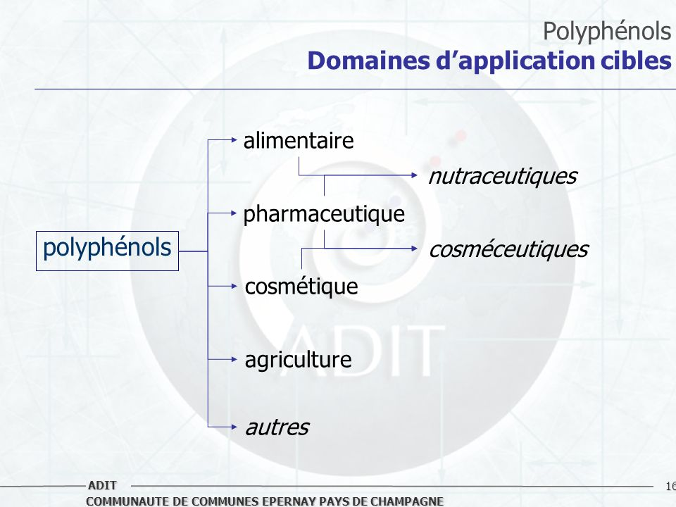 Polyphénols Domaines d'application cibles